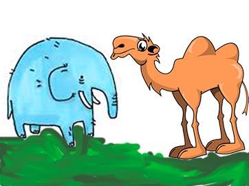 Chiste con un camello y un elefante